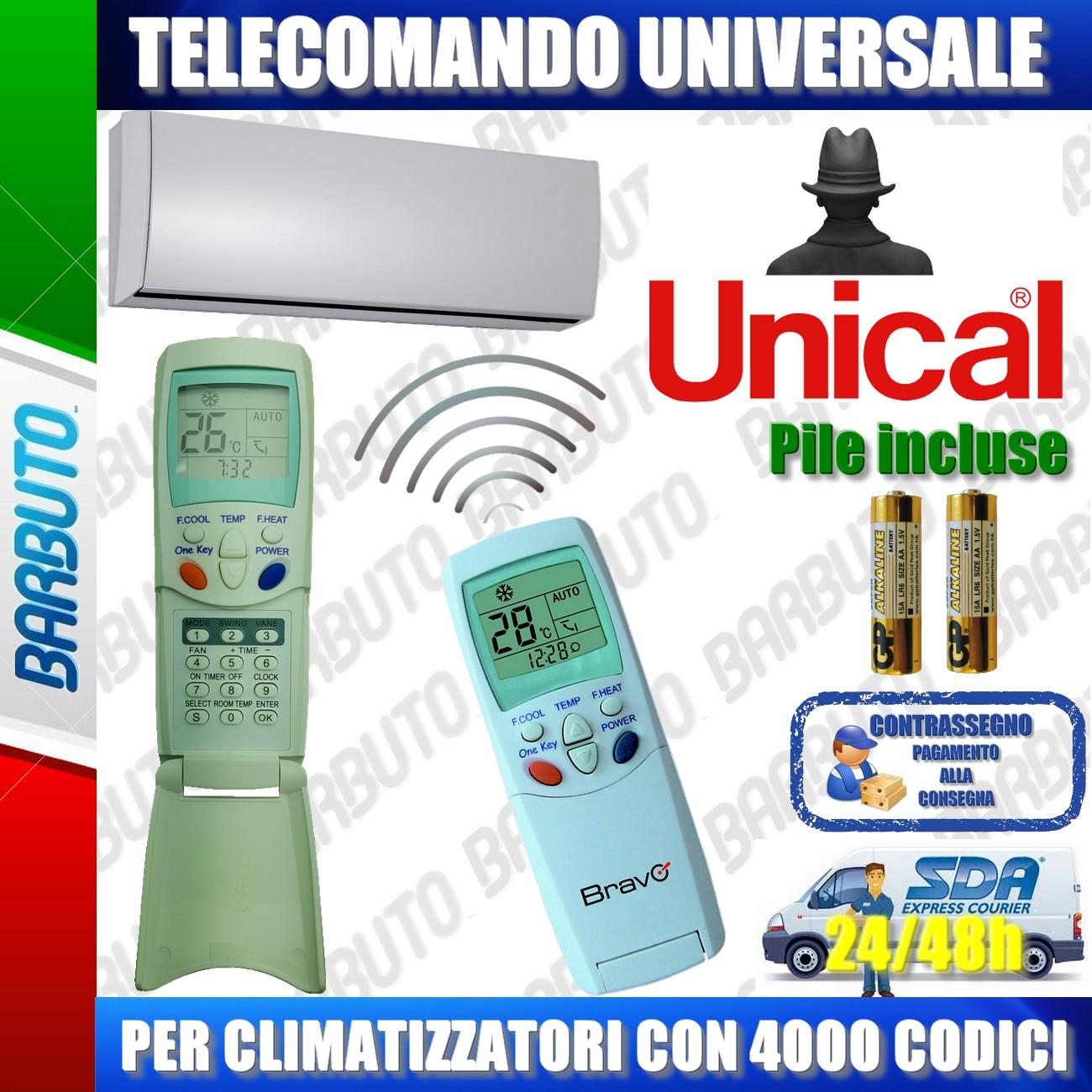 unical telecomando  TELECOMANDO UNIVERSALE PER CLIMATIZZATORI UNICAL (BATTERIE INCLUSE ...